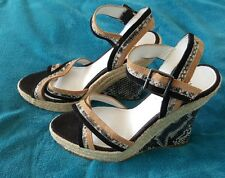 ZU Platform Animal Print Full Suede Leather Wedge High Heels Open Toe Size 40