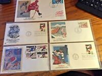 Stamps 1st Day of Issue 1980 -1987  Set of 5 Olympiad Hockey Skiing
