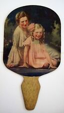 """Vintage Antique Advertising Fan """"Hollywood Music Studios"""" w/ Mother & Daughter *"""