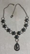"Liz Claiborne ST Metal Link Chain Geometric Bead Teardrop Pendant 17.5""Necklace"
