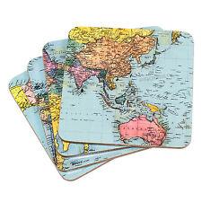 Set di 4 Bevande Sottobicchieri Blu Mappa Globo ATLAS protettore da scrivania tavolo TAZZA DI CAFFE'