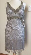 SUE WONG 1920's GATSBY Platinum Silver Beaded Wedding Bridal Cocktail Dress 2