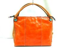 Auth GABS Orange Ivory DarkBrown Leather &  Canvas Handbag
