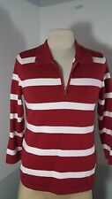 RALPH LAUREN POLO SWEATER ZIPPER WOMEN'S SIZE S RED AND WHITE STRIPS