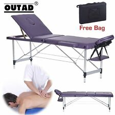 3 Fold Portable Massage Table Facial SPA Bed Tattoo w/Carry Case Aluminum Purple