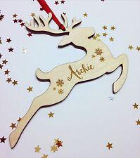 Personalizzata Renna Albero di Natale Decorazione in Legno personalizzato in legno bauble