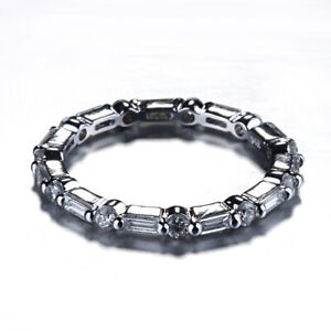 Solid 18K White Gold Round SI/H Natural Diamond Ring Eternity Band Ring Jewelry