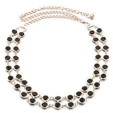 Womens Or 2 Rangs Noir Perles Femmes Chaîne De Taille Ceinture Métal Boucle Mode