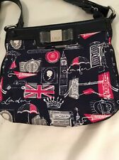 Lulu Guinness of London Navy Bag,Rare LONDON motif.Patent Trim,Clear Plastic Bow