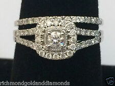 14k White Gold Halo Vintage Round Cut Diamond Engagement Bridal Wedding Ring Set