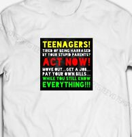 FUNNY TEENAGERS KNOW EVERYTHING JOKE SLOGAN COMEDY 100% Cotton Mens T-shirt TEE