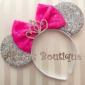 NEW Minnie Mouse Tiara Ears Headband Sparkly Silver Cotton Candy Pink Sequin Bow