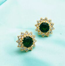 14k Yellow Gold Ct Round Cut Emerald Stud Earrings