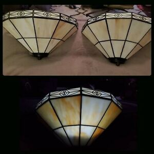 Vintage Pair Mission Tiffany Style Stained Glass Sconce Light Fixture Wall Mount