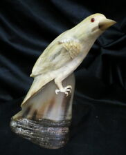 """bird statue carved into buffalo / bison horn 7.5"""" tall art nouveau w/ glass eyes"""