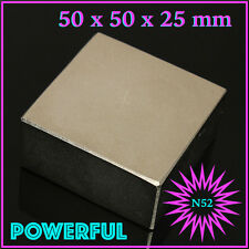 1pc Block 50x50x25mm SUPER STRONG N52 High Quality Rare Earth Magnet Neodymium