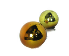 2 Witch Witches Balls Brown Amber Yellow antique Mercury Glass Protection