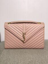Authentic YSL Yves Saint Laurent Envelope Large Grain De Poudre Leather Bag