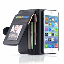 Luxury Magnetic Wallet Leather Slot Card Flip Triple Case for iPhone Samsung LG