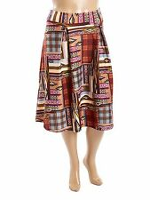 "Hot Ginger Ladies Plus Size 2xl UK 20 (40"" Waist) Aztec Check Print Skirt"