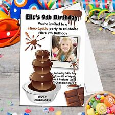 10 Personalised Chocolate Fountain Birthday Party PHOTO Invitations N80