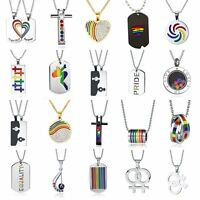 Pride Lesbian Gay Gender Symbol Stainless Steel LGBT Pendant Chain Necklace Gift
