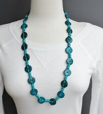 """30"""" long necklace beaded wooden lightweight Dark Teal wood disc chunky bead"""