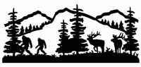 Vinyl Decal Sasquatch Bigfoot Couple Elk Wildlife Scene 20 Colors Car Truck 1019