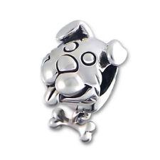 TJS 925 Sterling Silver Bead Happy Dog Bone Charm for European Bracelet Necklace