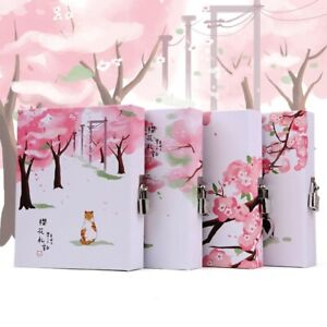 """Sakura Cat Lock Notebook"" 1pc Cute Journal Diary Daily Planner Stationery Gift"