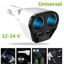 Universal 2 Way Car Cigarette Lighter Socket Splitter 12V Dual USB Car Charger