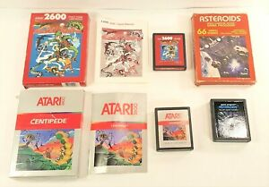 LOT OF 3 ATARI 2600 VIDEO GAMES IN BOX ASTEROIDS, CENTIPEDE, CROSSBOW TESTED