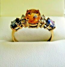 Unusual 9 Carat Gold, Citrine, Peridot and Sapphire Ring