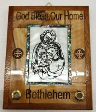 Hand Made Olive Wood & Mother Of Pearl Icon, Jerusalem Cross,God Bless Our Home