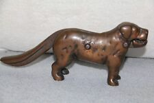 VINTAGE BRONZED CAST IRON DOG DOORSTOP / NUT CRACKER