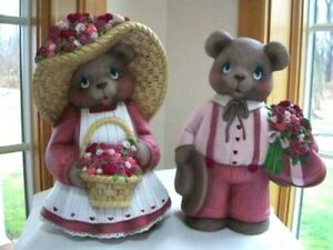 Ceramic Bisque Hand-Painted Pair Of Valentine Boy & Girl Bears