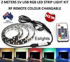 2m 5v RGB LED Strip Light Colour Change USB Kit Background Lighting TV PC Laptop