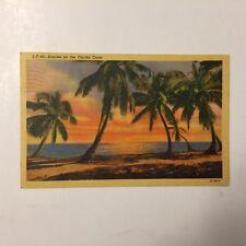 Sunrise on the Florida Coast Sunset Vintage Linen Posted Postcard
