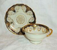 Vintage BLACK KNIGHT Hohenberg, Bavaria Cobalt Gold Teacup & Saucer