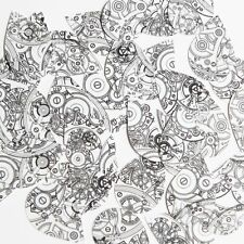 """Teardrop Sequin 1.5"""" Steampunk Clockworks on White Opaque Couture Paillettes"""
