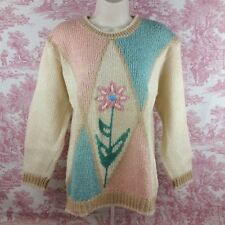 Koret Sweater Womens Size Small Wool Blend Floral Cream Pink Green Blue