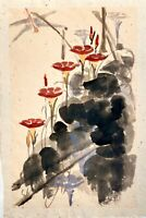 ORIGINAL Watercolor painting on hand made paper SIGNED by artist flowers