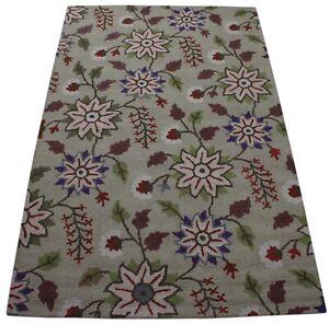Carpet 100% Wool Oriental Rug Beige Braun 150x240 CM Hand Woven MH946
