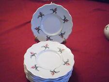 """(8) DANSK ROSEBUD  5 1/2"""" BREAD & BUTTER PLATE WHITE  RED/GREEN MADE IN PORTUGAL"""