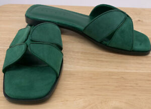 New Sandro Paris Green Suede Slide Mule Sandal EU 38/8 Flat Sandal $255 Resort