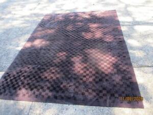 ROBYN COSGROVE CHECKERS PURPLE QUALITY FLOOR RUG WOOL / SILK NEPAL 193CM X 270CM
