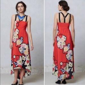 Anthropologie | Leifsdottir | Red Floral Print Silk Picolina maxi dress Sz 4