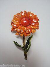 "Enameled Orange Flower Brooch signed HAR Gerber? Daisy 1 3/4"" EUC"