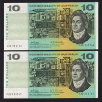 R-303. (1968) Ten Dollars - Phillips/Randall..  aU-UNC - CONSECUTIVE Pair
