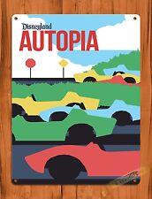 """TIN-UPS Walt Disney Tin Sign """"Autopia"""" Cars Racers Art Ride Poster"""